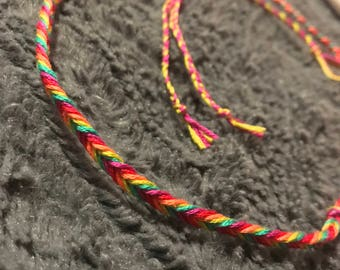 Rainbow Set of 2 Friendship Bracelets and an Anklet