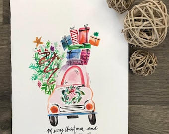 Have Yourself A Merry Christmas and Happy New Year Watercolor Print