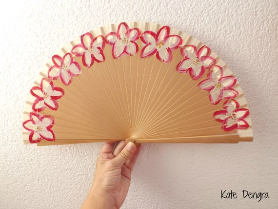 WEDDING Ivory Deep Crimson Flower Hand Fan