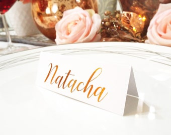 Real Foil Silver Wedding Tented Name Cards. Rose Gold Foil Place Cards. Tented Wedding Table Cards.