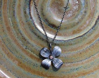 Forged Iron Necklace Dogwood Flower