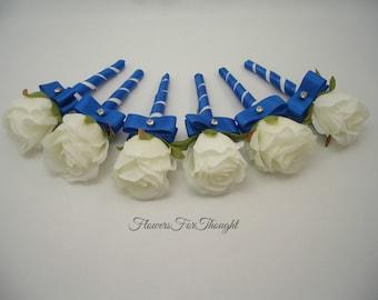 White Rosebud Boutonniere with Royal Blue Ribbon, Mens Wedding Flower, 1 Groom or Groomsmen Lapel Pin