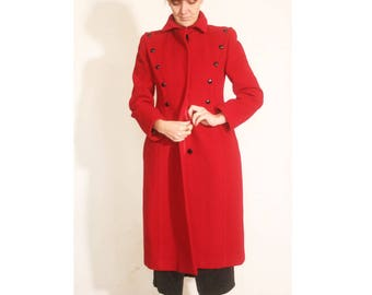Vintage 1980s Fire Engine Red Nipon Coature Button Detailed Form Fitting Wool Trench Pea Coat size 6