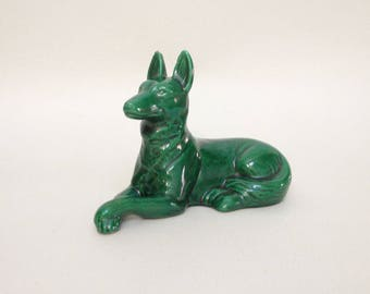 French Vintage Green Ceramic Dog - French St Clement Faiencerie - 40's