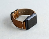 Apple Watch Band 42mm | Horween Leather Strap | 38mm Apple Watch Strap | 42mm iWatch Strap | Horween Leather English Tan | Loop Hardware