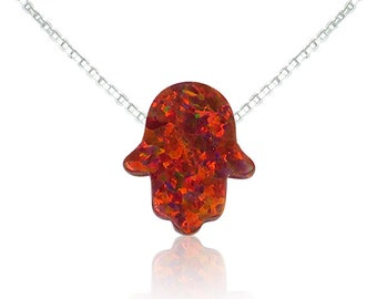 Opal Hamsa Necklace • Red Opal on a 925 Sterling Silver Chain • Lowest Price on Etsy • Safe to Get Wet • Unique Gift Under 15 Dollars