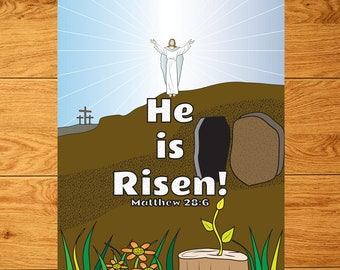 He is Risen Matthew 28:6 Coloring Page in 8.5 x 11 size