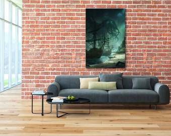 Lovecraft canvas, Cthulhu print, Cthulhu wall art, Cthulhu canvas, Howard Phillips Lovecraft,