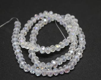 6 mm Clear White Faceted Crystal Rondelle Beads