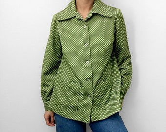 Vintage, 1970's, Green, Polka-Dot, Wide-Lapel, Long-Sleeve, Button-Up, Button-Down, Shirt, Top with Pockets