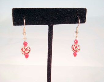 Red Swarovski Crystal and Silver Heart Earrings