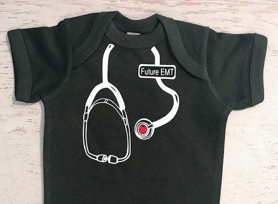 Future EMT Stethoscope Bodysuit for your Medical Professional, Doctor, Nurse, EMT Pictured in Forest Green with White Print
