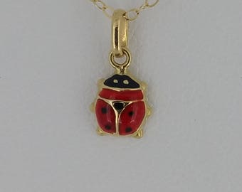 14KT Yellow Gold Enamel LadyBug Necklace