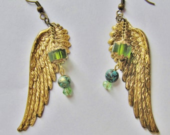 Large Wing and Vintage Style Bead Earrings ERG47