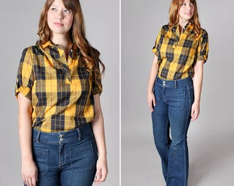 Vintage Yellow Plaid Henley Blouse - Black Blue Yellow Boxy Loose Pull Over Summer Short Sleeve Top Shirt Cotton Woven- Size Medium
