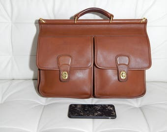 Authentic Vintage Coach Briefcase -British Tan Leather- Dowel Top- Field Bag -Made in The USA-