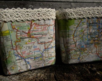 Map Covered Candle Holders//Travel Decor//Gift for Her//Office Decor//Home Decor//Map Decor//Wedding Gift