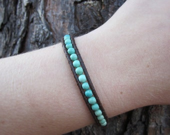 Leather Beaded Wrap Bracelet - Brown and Turquoise