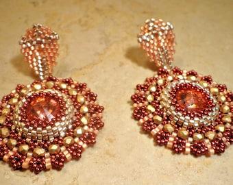 "Tutorial variant earrings ""Semiramide"" Technical circular peyote - Rivoli Swarovski, Rocailles Miyuki Delica"