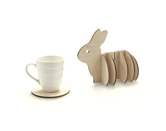 Wooden 3d Bunny Coaster Set, Handmade Animal Coasters