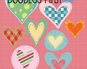 Adorable Decorative Hearts Digital Clip Art Set Digital Clip Art Set for Personal and Commercial Use