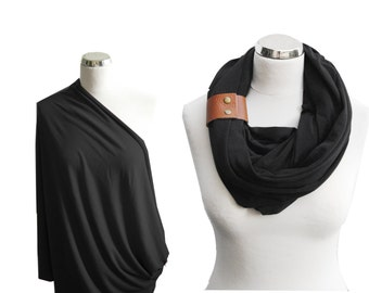 Black Nursing Scarf with leather cuff, Nursing Cover, Breastfeeding Cover, Nursing Infinity Scarf, baby shower gift