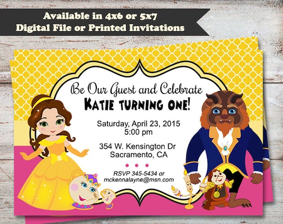 Beauty and the beast party invitations princess belle beauty and the beast party invitations princess belle birthday party invitations princess birthday party digital file or printed cards filmwisefo Images