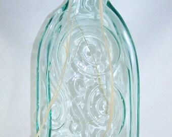 Melted Wine Bottle Serving Dish/Melted Wine Bottle Spoon Rest/Wine Decorations/Wine Kitchen Decor/Pale Green Swirl/Large Wine Bottle
