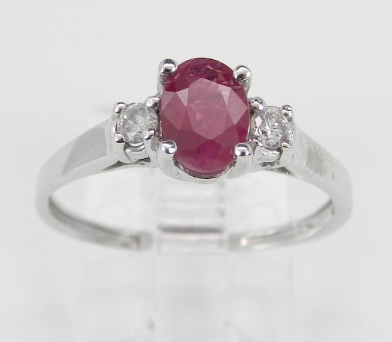 White Gold Ruby and Diamond Three Stone Engagement Ring Size 7 July Birthstone