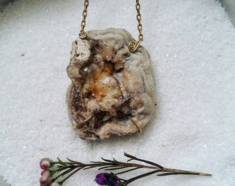 Chalcedony Rose Necklace / Raw Crystal Necklace / Druzy Crystal