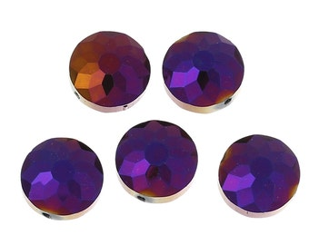 10 Purple Shimmer Beads (14mm)