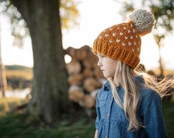 Chunky Knit Beanie // Pom Pom Beanie // Toddler Beanie // Fair Isle Beanie // Hats for Women