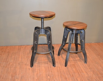 Industrial Style Rustic Solid Wood Swivel Stool With Adjustable Height (  Listing Is For One Stool