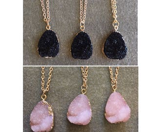 Natural Stone Pendants Stone pendant etsy natural druzy agate necklaceraw druzy crystal necklacelight pink druzy jewelryhealing audiocablefo
