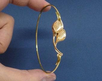 Gold bangle, Lily bangle,  Peace Lily Jewelry, Lily Bangle Bracelet, Lily Jewelry, Floral Bangle Bracelet