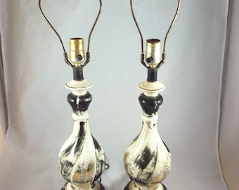 Mid Century Ceramic Lamps Pair