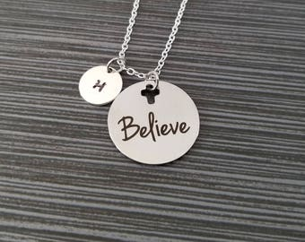 Believe Necklace - Religious Necklace - Cross Necklace - Christian Necklace Bible Verse Necklace - Baptism Gift - Christian Jewelry