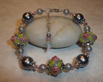 Pre-Summer SALE! English Garden Lampwork Bracelet