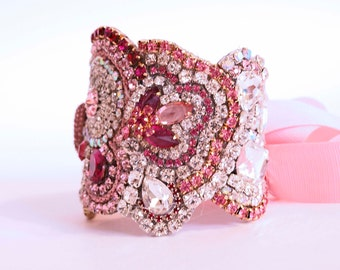 Sweethart  Pink Wedding Cuff with Ribbon Ties Or Clasp  We can also make it in your own Custom Colors