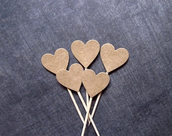 Rustic Wedding, 24 Kraft Heart Cupcake Toppers, Food Picks, Party Decor, Double-Sided, Showers, Love, Brown, Valentine's Day Decor