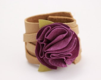 Purple Suede Leather Flower Cuff Bracelet