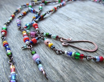 Long boho necklace Colorful boho necklace Long chain necklace Oxidized copper necklace Colorful boho chic jewelry Boho MADE TO ORDER
