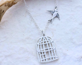Gorgeous Graduation Necklace, bad marriage. Sterling silver Bird & Sterling silver Chain. Fly Free Bird, Silver Bird cage.