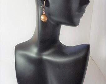 Earrings Gold Wood
