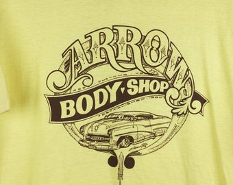 Vintage - Arrow Body Shop Yellow T-Shirt, Customs Hot Rod, USA