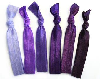 Purple Ombre Elastic Hair Ties, Purple Hair Ties, Elastic Hair Ties, Ponytail Holder, Hair Ties, No Crease Hair Ties, Hair Accessories, Ties
