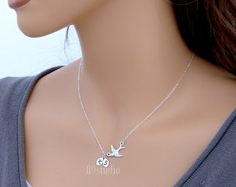 Flying bird necklace, Personalized bird necklace, small silver leaf initial charm pendant, sterling silver chain, gift jewelry, B9studio