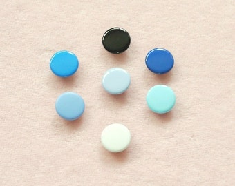 50 sets, Blue Shade (7 colors) Capped Prong Snap Button, Size 16L (10 mm)