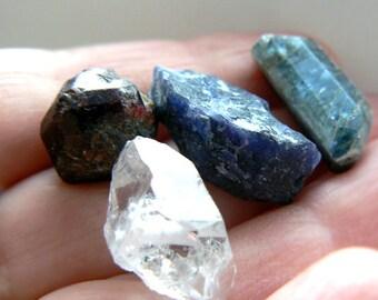 Raw kyanite, sodalite, raw red garnet, Herkimer diamond -lot of 4 gemstones. Healing stone- Energy healing- Meditation-High vibration stones