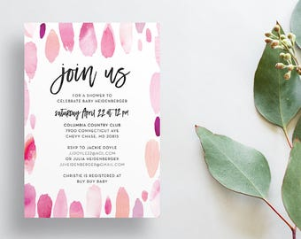 Watercolor Strokes Shower Invites / Pink Paint Strokes / Calligraphy / Semi-Custom Party Baby Shower Invites / Print-at-Home Invitations
